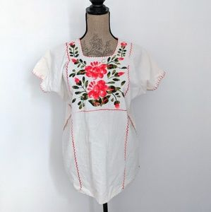 Floral Embroidered Boho Style Short Sleeve Shirt